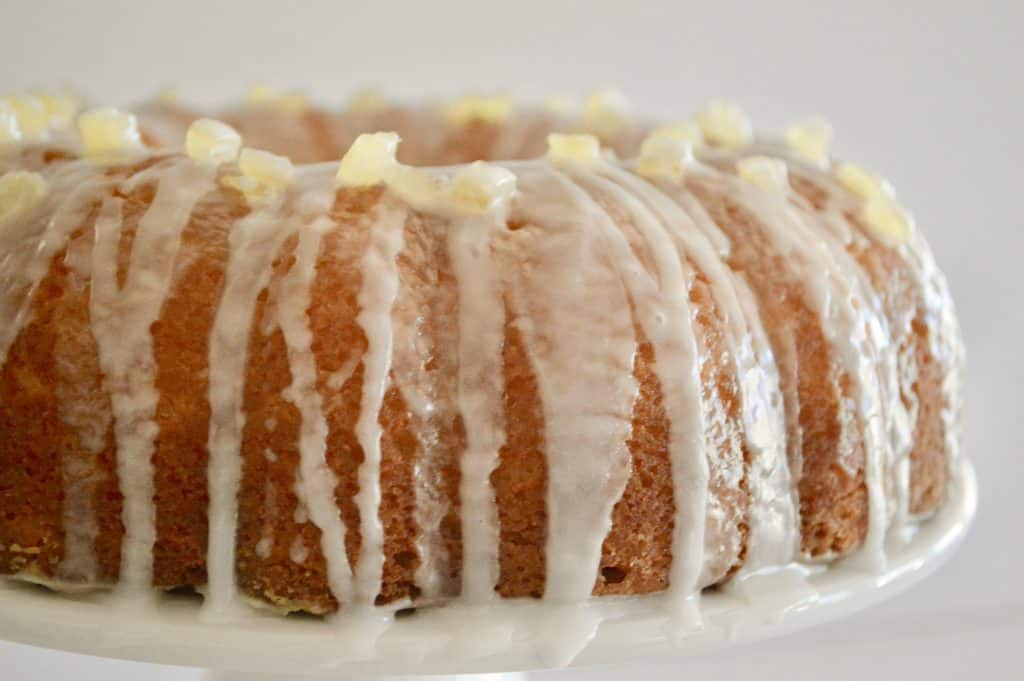Lemon Ricotta Bundt Cake with paradise candied lemon peel on top
