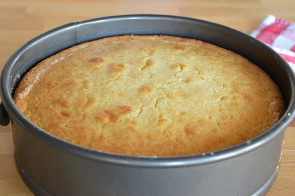 springform pan with cooled cake inside.