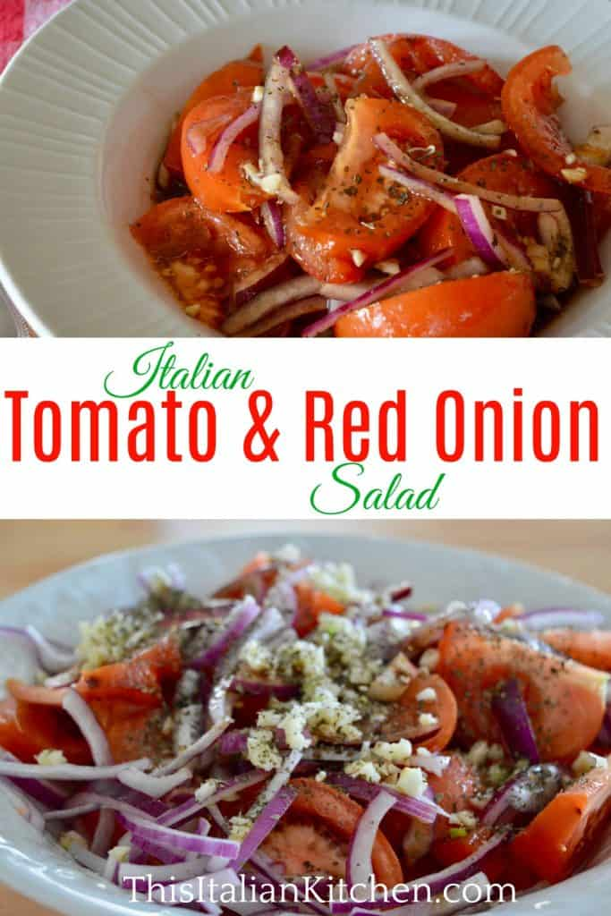 Italian tomato and red onion salad pinterest pin.