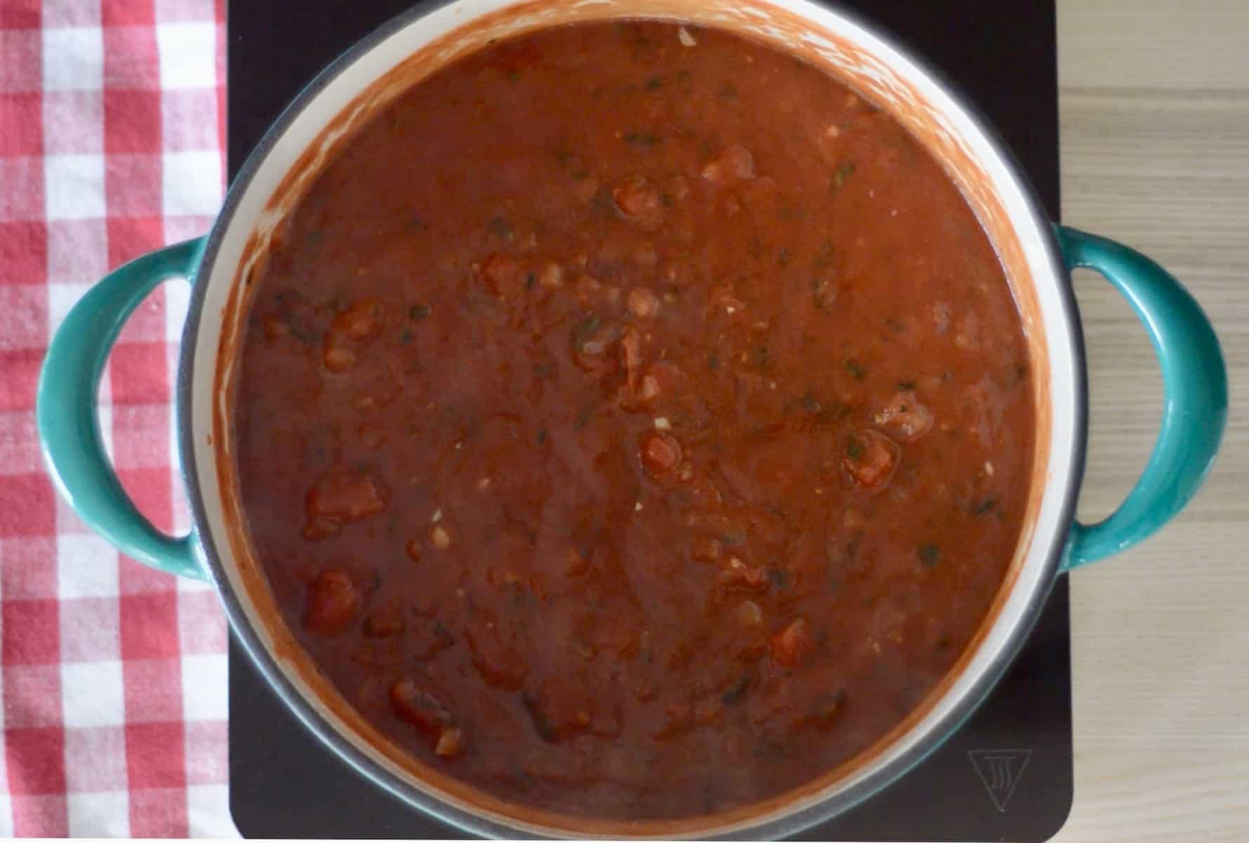 Simple Marinara Sauce in a pot.