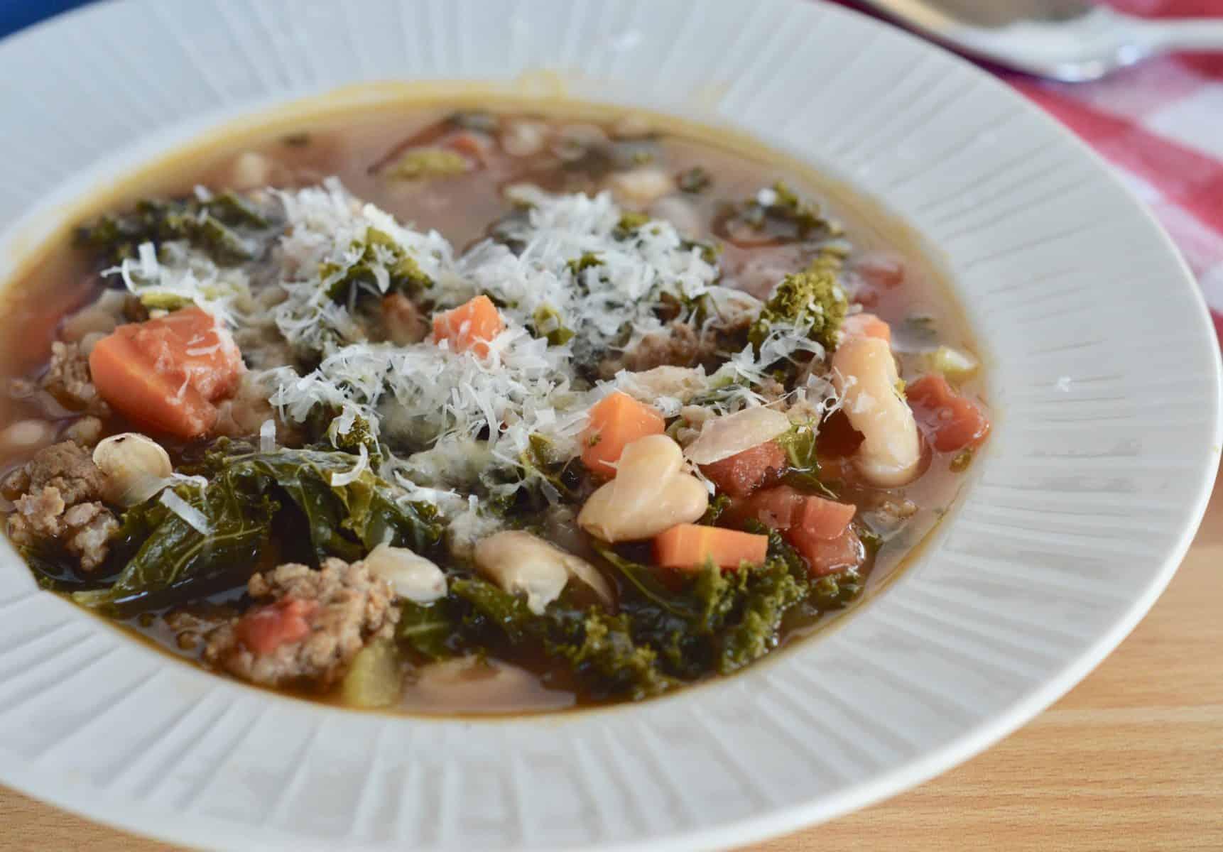 close up of sausage kale bean soup