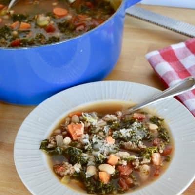 Sausage Kale Bean Soup | Italian Tuscan Bean Soup