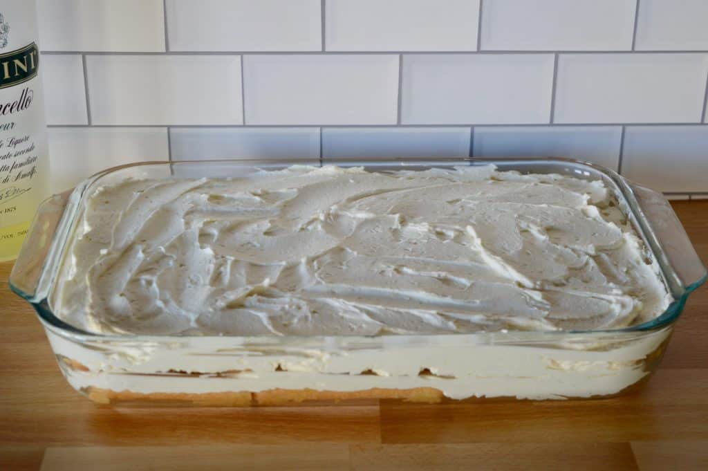 top mascarpone whipped cream layer.