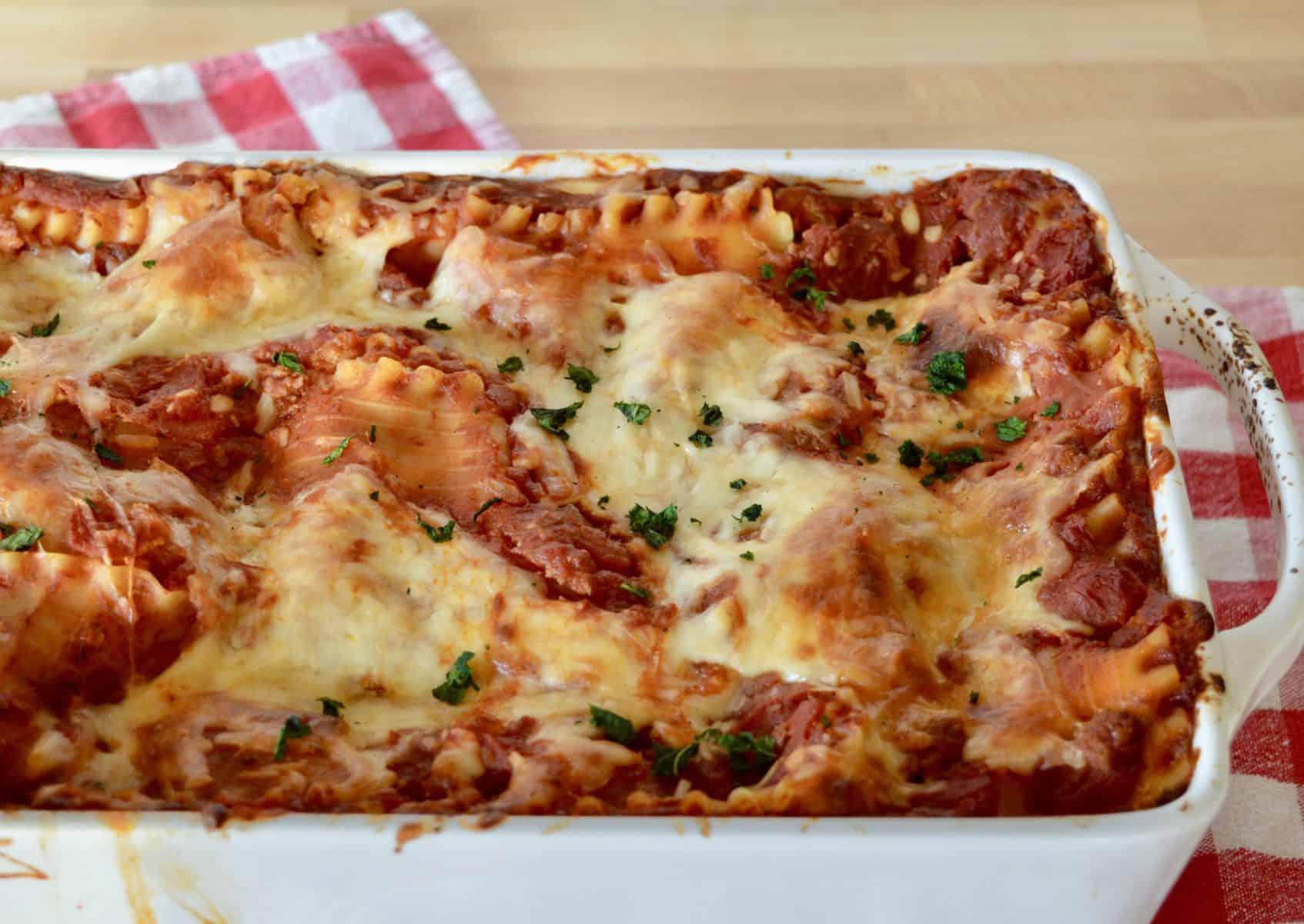 Italian Turkey Lasagne in a white baking dish.