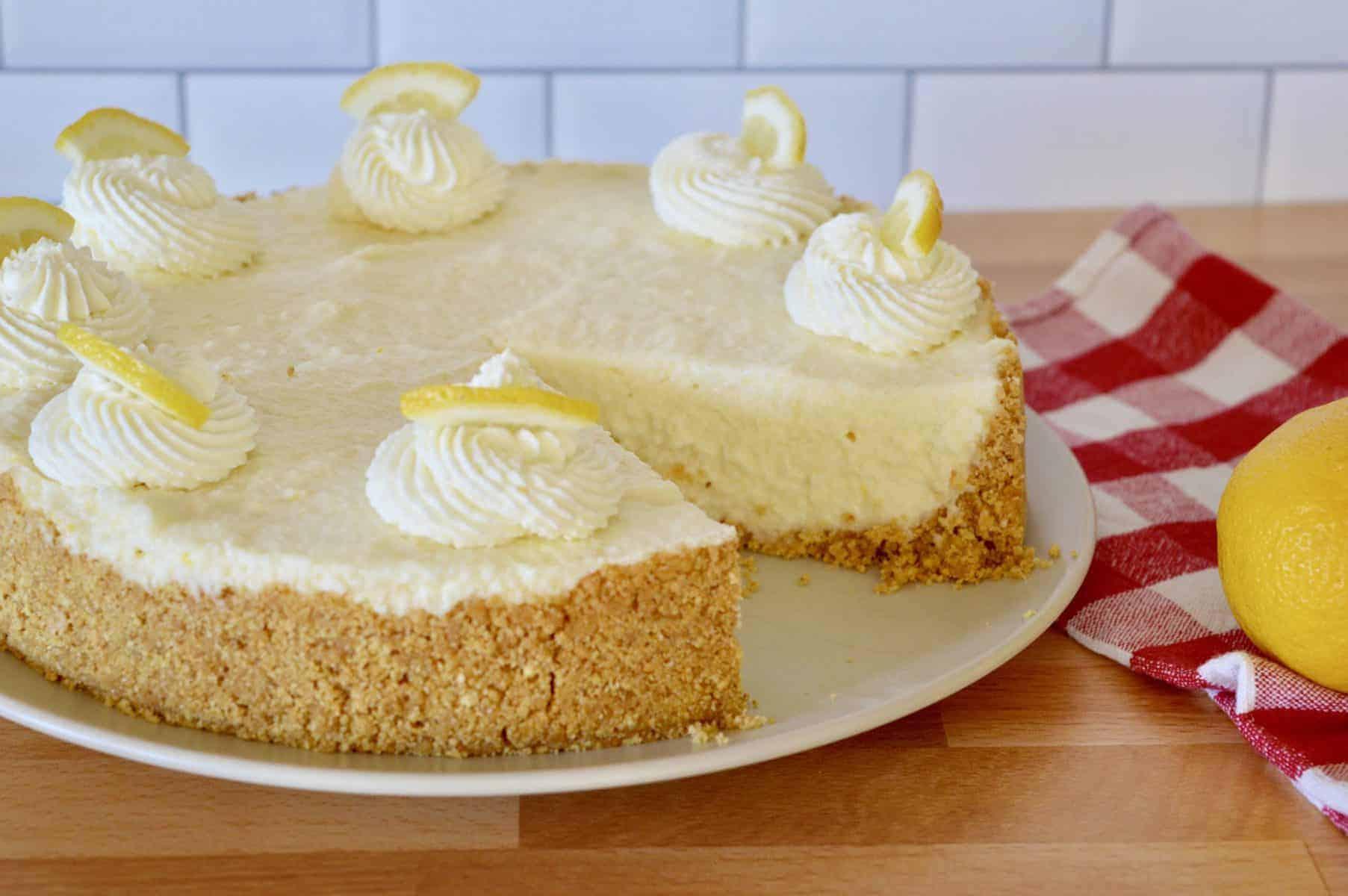 No-Bake Lemon Mascarpone Cheesecake on a serving plate.