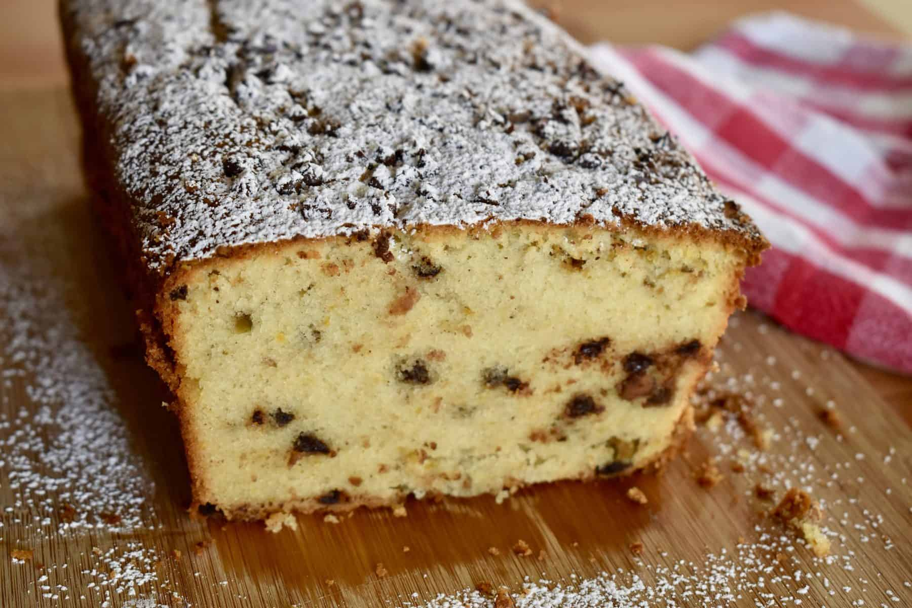 Cannoli Pound Cake with mini chocolate chips, pistachios, and ricotta.