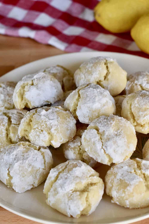 Lemon Amaretti Cookies on a plate.