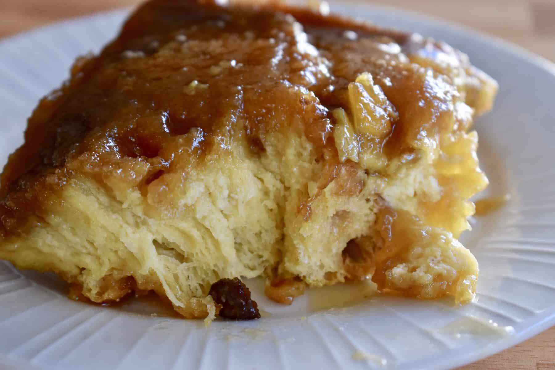 Panettone French Toast Casserole on a white plate.