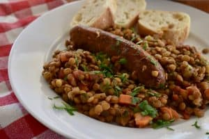 Plate of Italian Sausage and Lentils