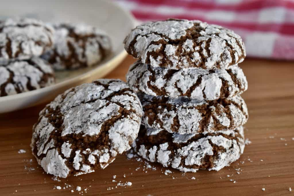 Italian Almond Chocolate Cookies stacked on each other.