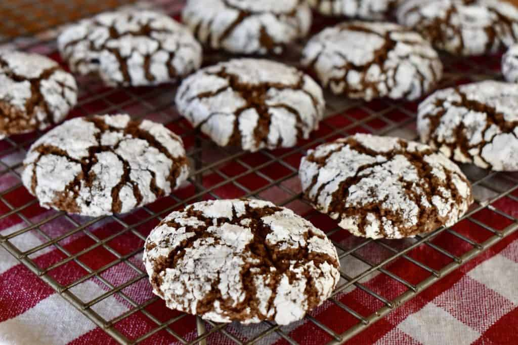 Italian Almond Chocolate Cookies cooling on wire cooling rack.