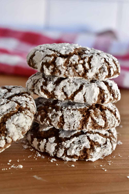 Stacked Italian Almond Chocolate Cookies.
