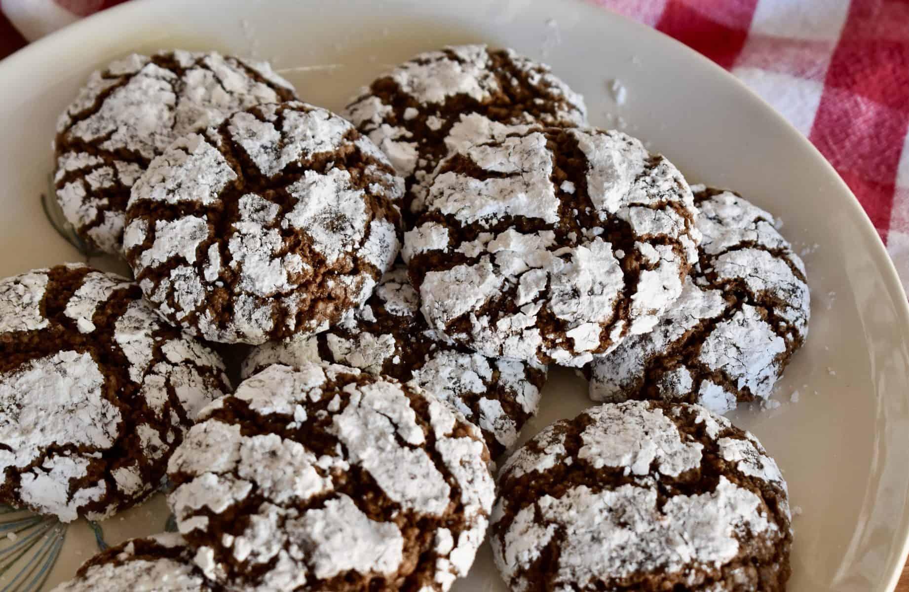 Plate full of Italian Almond Chocolate Cookies.