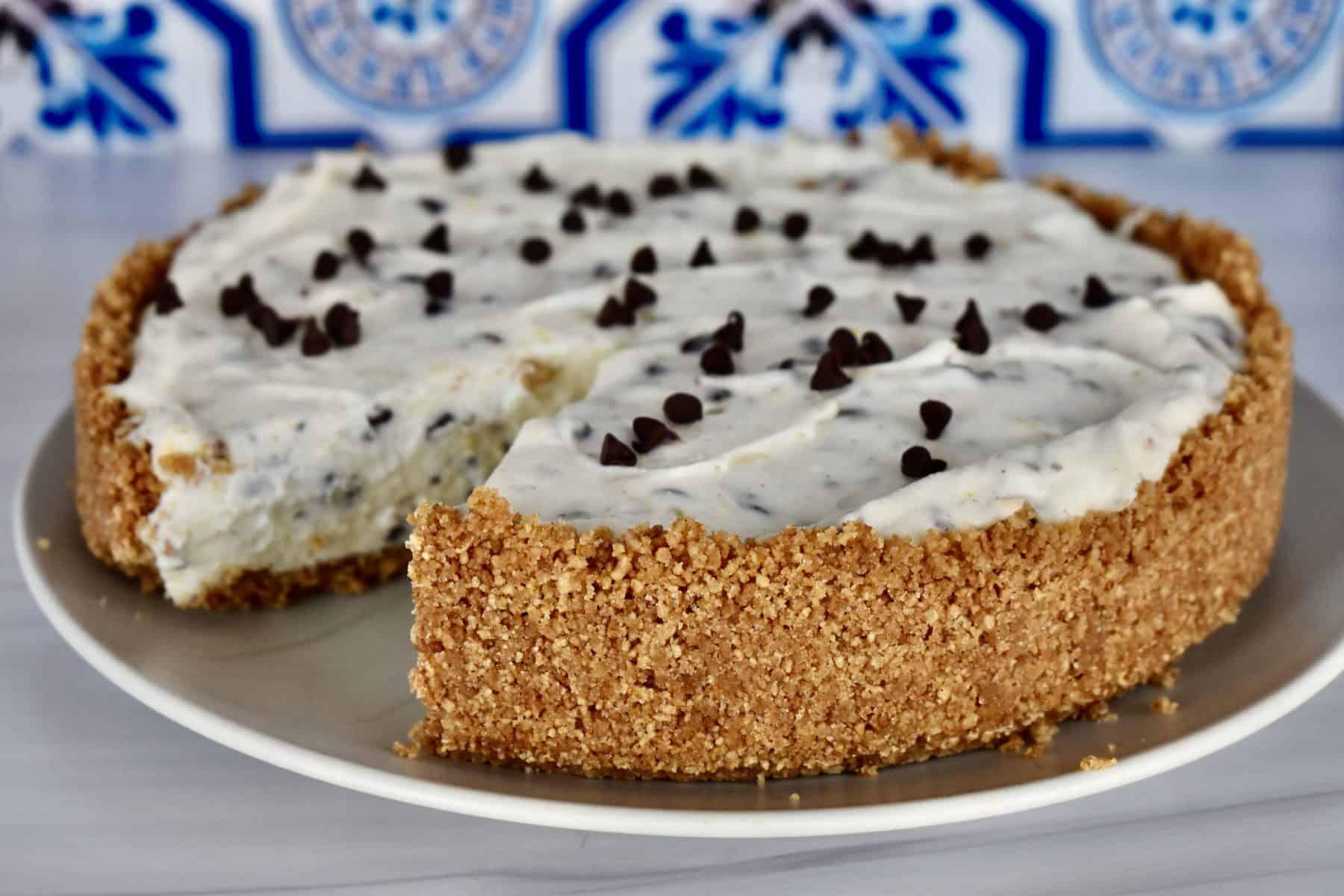No Bake Cannoli Cheesecake on a plate.