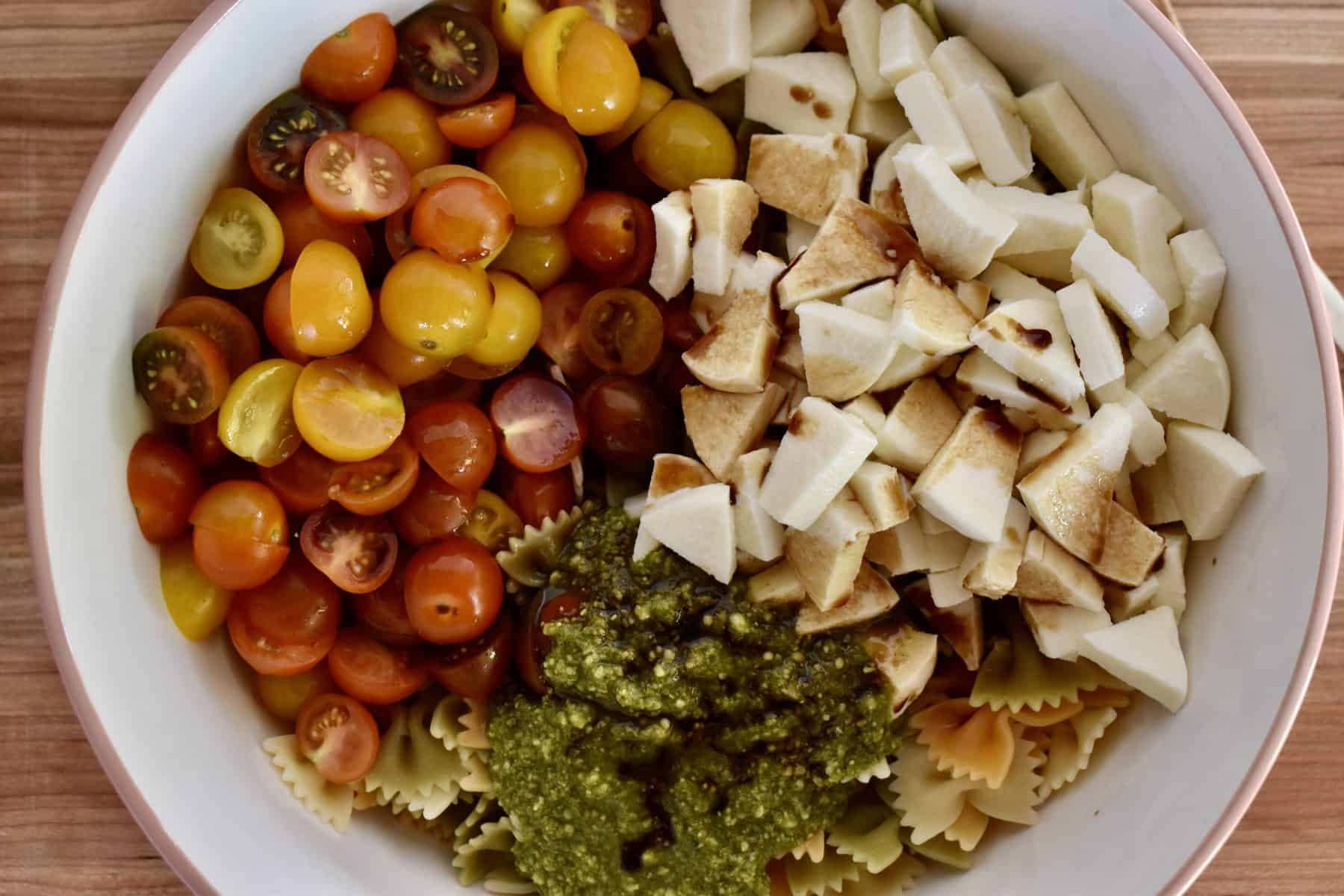 overhead photo of the ingredients in a large mixing bowl.