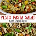 Pesto Pasta Salad made with just 5 ingredients.