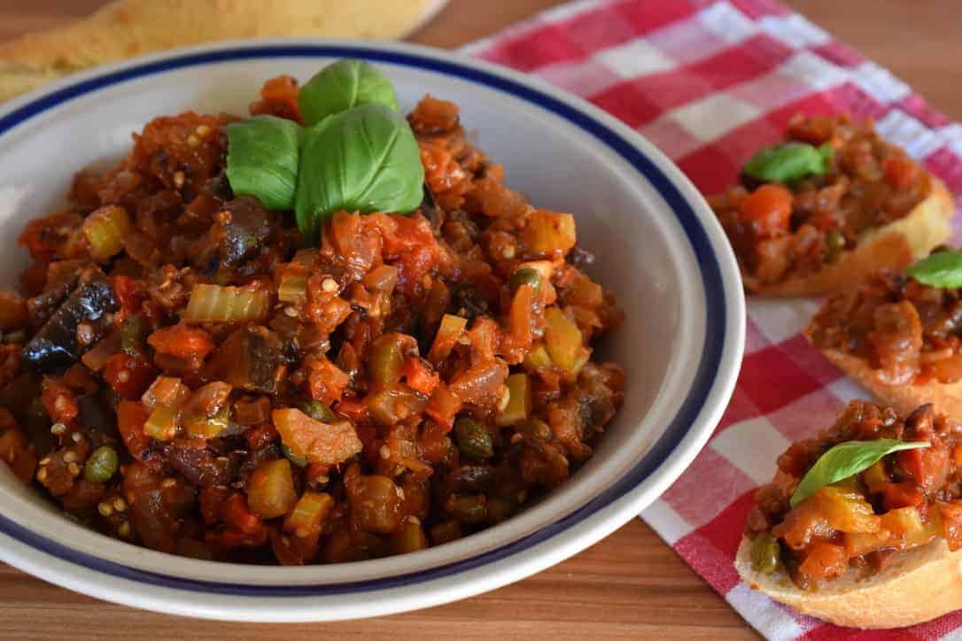 Eggplant Caponata Recipe with Bruschetta on the side.