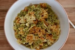 Cooked Farfalle in a large mixing bowl.