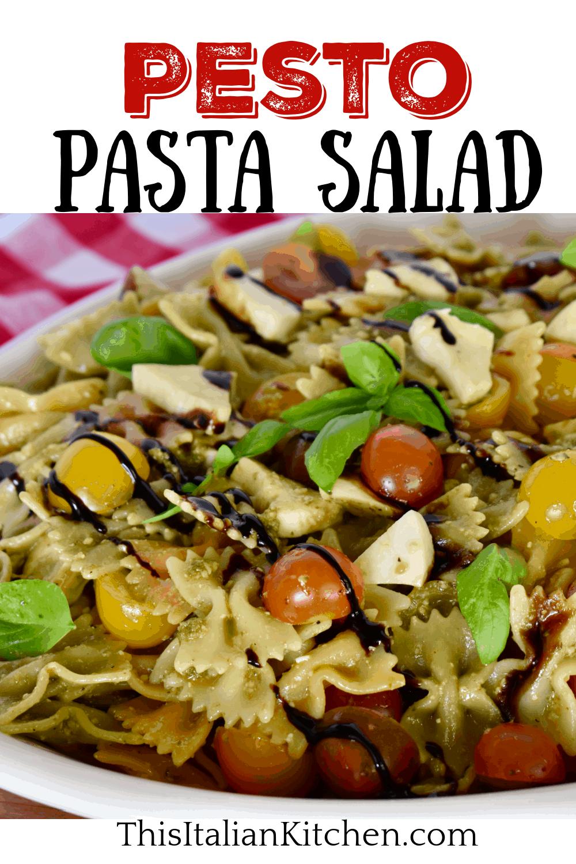 Pesto Pasta Salad in a white plate.
