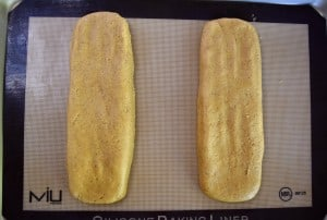 overhead photo of the dough smoothed out into two rectangular pieces.