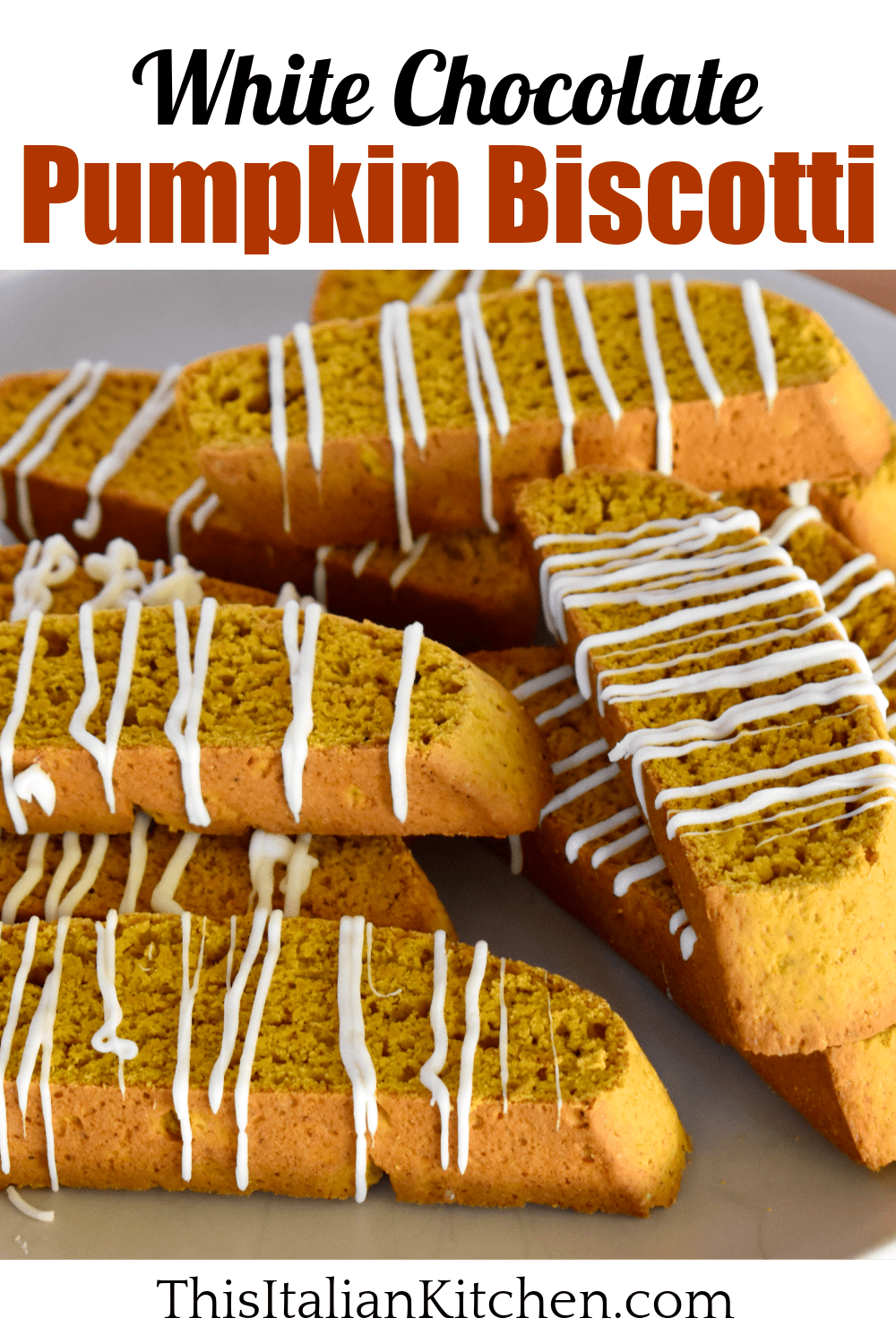 Pumpkin biscottii with white chocolate drizzle.